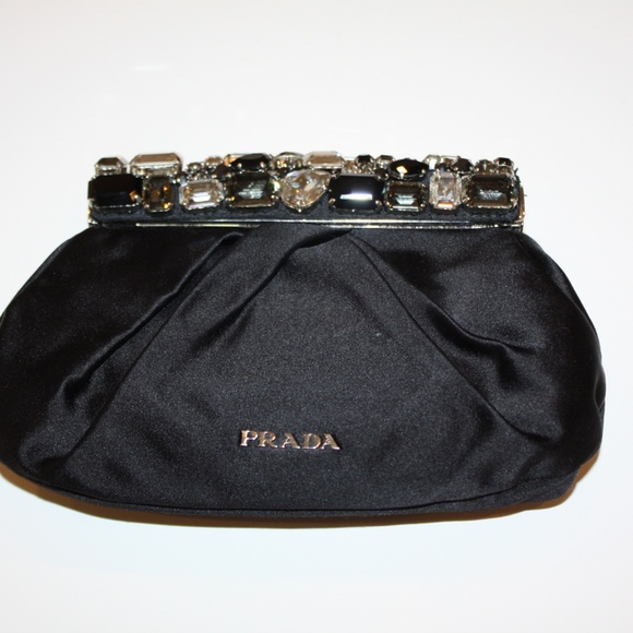 722b4123d77d ... shop nwot prada jeweled satin clutch bag 326c0 a72aa
